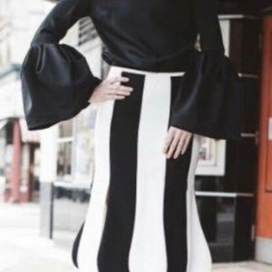 Victoria Beckham Black/ White Stripe Tulip skirt